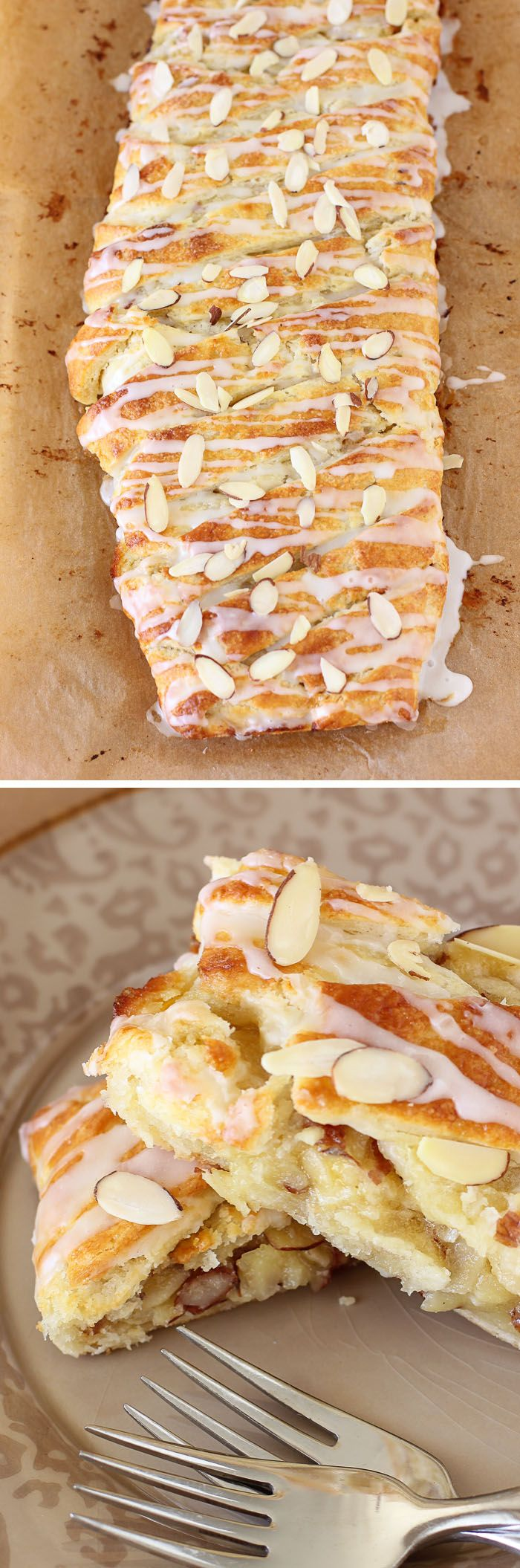 Buttery Almond Pastry Braid - If you love almond - almond pastries, almond croissants - this simple recipe is perfect for you! Eat it for breakfast or dessert!