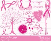 Breast cancer Clipart for digital scrapbooking & design, breast cancer awareness, fight, pink, cure, fund raiser,pink ribbon - PGCLPK388