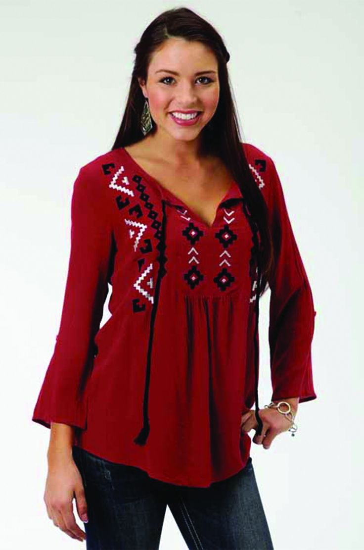 Roper Women's Red Embroidered Peasant Blouse - Feminine Peasant Blouse In Soft Woven Crepe - Embroidered Front Yoke With Split Neck Opening And Tassel Ties - 3/4 Length Sleeves With Rolled And Tabbed