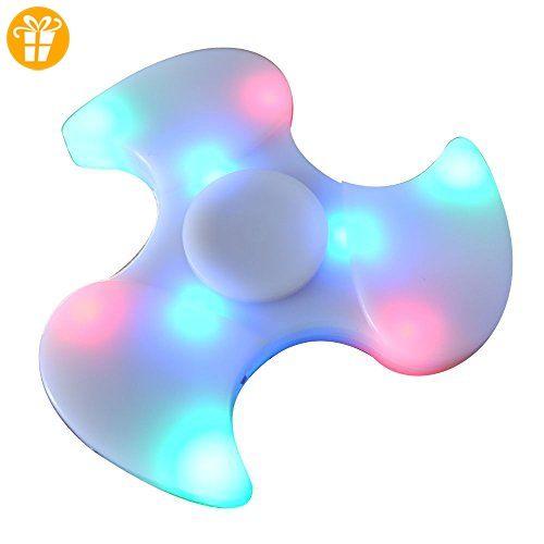 Fidget Spinner Leuchtend, Lamshaw 2-in-1 Fidget Fingerspinner LED mit Bluetooth Musik Lautsprecher Neu 2.0 Generation (Weiß_002) - Fidget spinner (*Partner-Link)