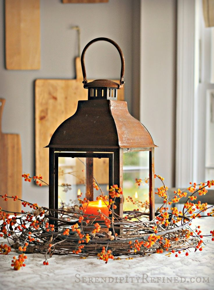 Serendipity Refined: Rusty Lantern And Bittersweet Simple Fall Table  Centerpiece