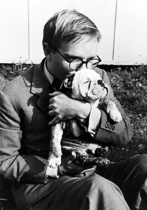 Truman Capote, 1953.: Dogs Dresses, Bulldogs Puppies, Dogs Accessories, Cutest Dogs, Robert Capa, English Bulldogs, Dogs Bowls, Dogs Sweaters, Truman Capote