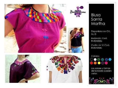 Blusa Artesanal Santa Martha Bordada A Mano - $ 450.00