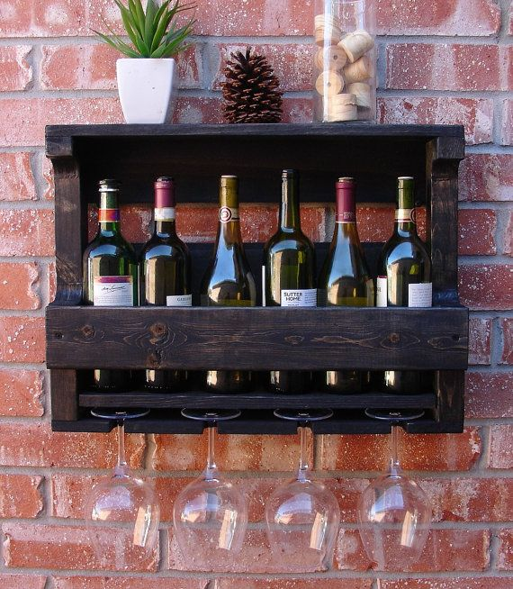 Rustic 6 Bottle Wine Rack With 4 Glass Holder Wall Mount