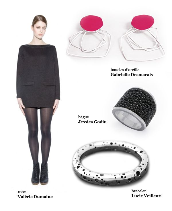 Gabrielle Desmarais red geometric earrings, Jessica Godin galuchat ring and Lucie Veilleux dots silver cuff.
