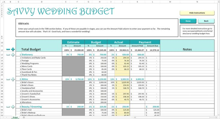 Savvy Wedding Budget Wedding budget worksheet and Weddings - Wedding Budget Excel Spreadsheet