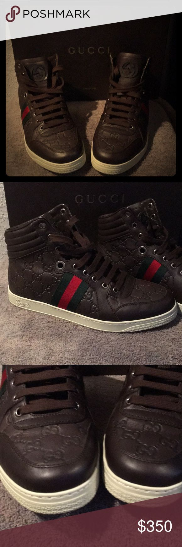 Gucci men sneakers Chocolate Gucci high top sneakers. In excellent condition. Only worn once. The size is a G 07 which is a men's 8 and a 10 in women's. Gucci Shoes Sneakers