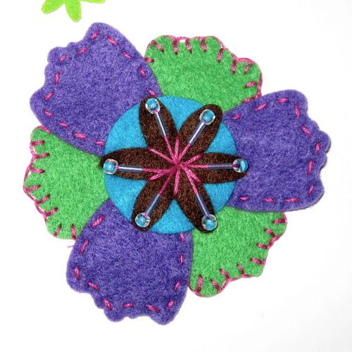 Felt Flowers Embellished With Sequins Beads And