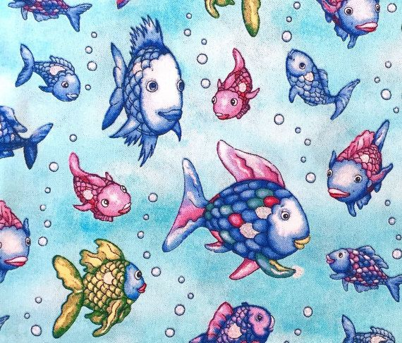 Beautiful cotton fabric from Marcus Fabrics with the well-known Rainbow fish from the picture books... Some fins glitter silver  Matching theres a fabric scales pattern here in the shop  for bags, bags, clothing, pillow, etc  Width: 1, 10m  From 0.5 meter Larger quantities shipped of course in one piece...  The lowest shipping costs are determined for multiple purchases.  For Germany: The maximum postage amounts to €4,90.  For other countries: Shipping costs up to 500 g: €3,90 and 501 g-1000…
