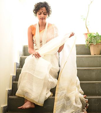 Linen Sarees - Linen Royal White Royal Gold And Royal Jute By SuTa PC 21181 - Thumbnail