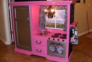 kitchen: Little Girls, Old Entertainment Center, Idea, Dreams Kitchens, Tv Cabinets, Cute Kitchens, Plays Kitchens, Kids Kitchens, Entertainment Centers