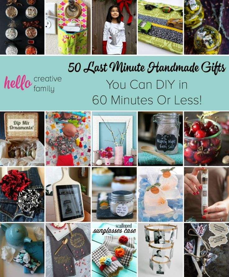 Stuck for a last minute gift? Here are 50 Last Minute Handmade Gifts you can DIY in 60 Minutes or less! Ideas for everyone on your gift list!