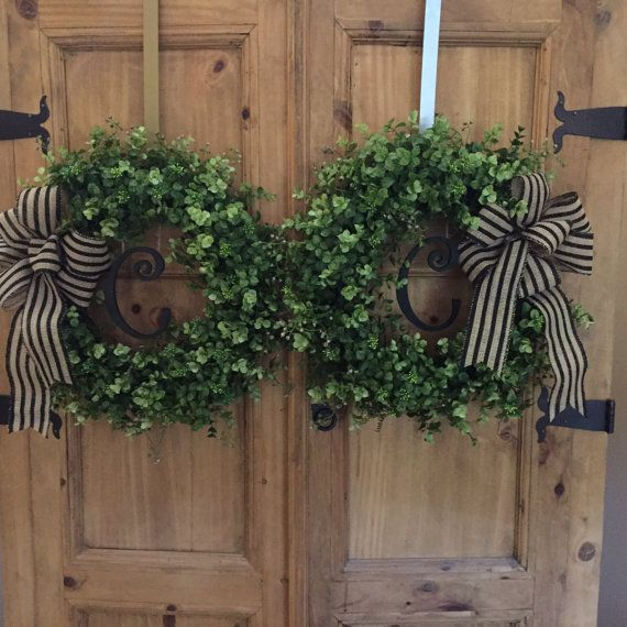 Christmas Wreaths For Double Front Doors: Personalized Double Door Wreaths Boxwood By