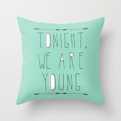 decorative pillow cover-home decor-  mint green- typography- song lyrics-words-text-music-pop culture