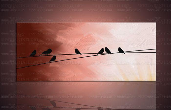 cuadro moderno abstracto pajaritos de moodartstudio http://www.moodartstudio.es/es/cuadros-abstractos/106-cuadro-moderno-puesta-sol-flying-birds-.html?search_query=flying+birds&results=1