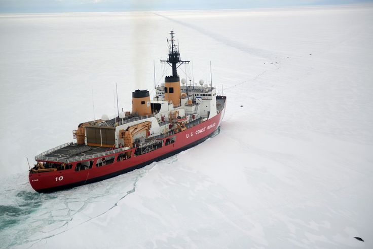 The Coast Guard Cutter Polar Star cuts through Antarctic ice in the Ross Sea near a large group of seals as the ship's crew creates a navigation channel for supply ships, January 16, 2017.