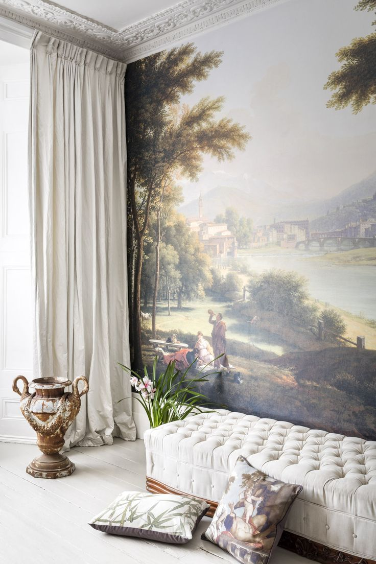 'A View of Florence from the North Bank of the Arno' Mural - National Galleries of Scotland from £210 | Shop Canvases & Wall Murals at surfaceview.co.uk