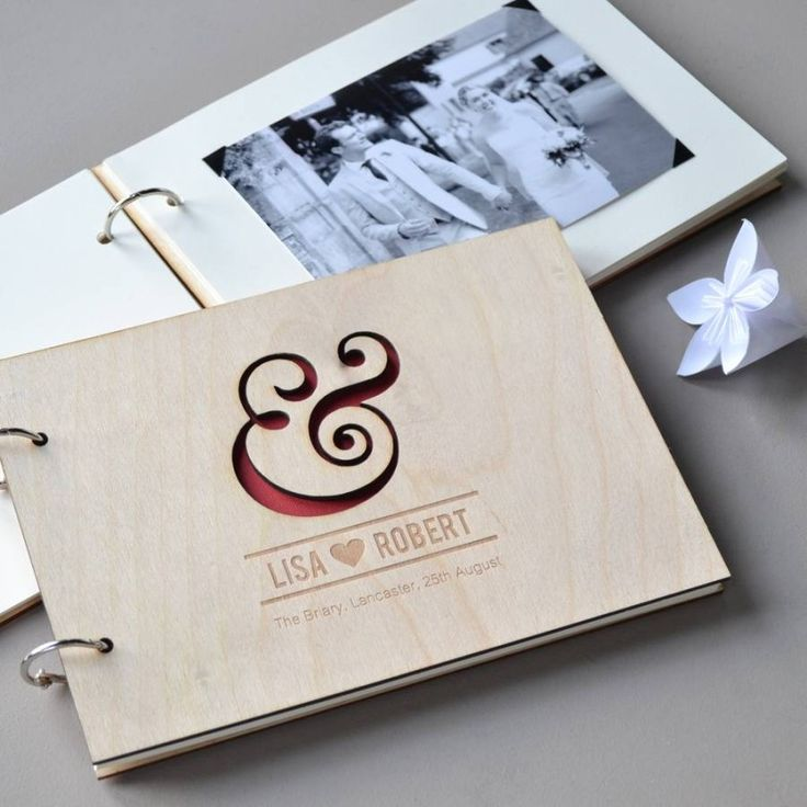 personalised ampersand wedding guest book