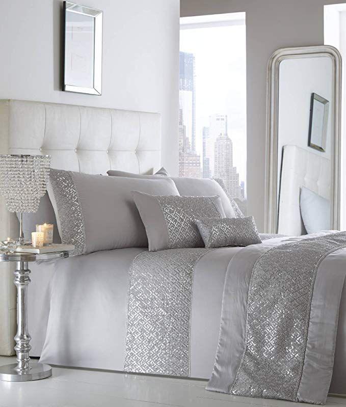 Portfolio Luxury Sequin Diamante Quilted Bed Runner Throw 50cm X 220cm Shimmer Silver Grey Silver Duvet Silver Duvet Cover Duvet Cover Sets