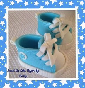 CONVERSE INSPIRED BOOTIES SHOES EDIBLE 3D BABY SHOWER CAKE TOPPER FONDANT  | eBay