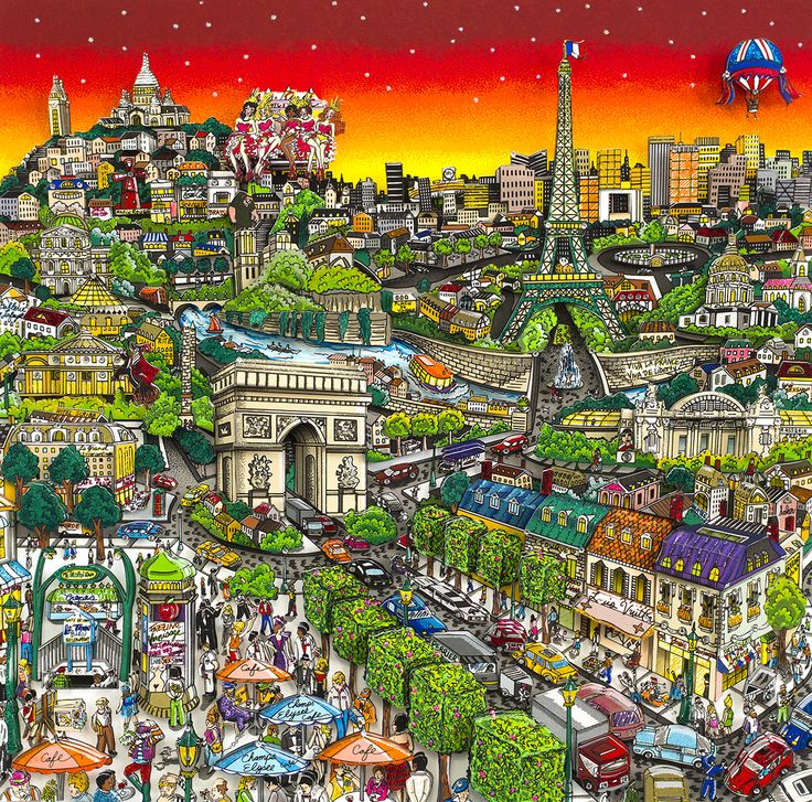 Charles Fazzino -Unforgettably the city of lights - 48 x 48 cm - Sérigraphie 3D