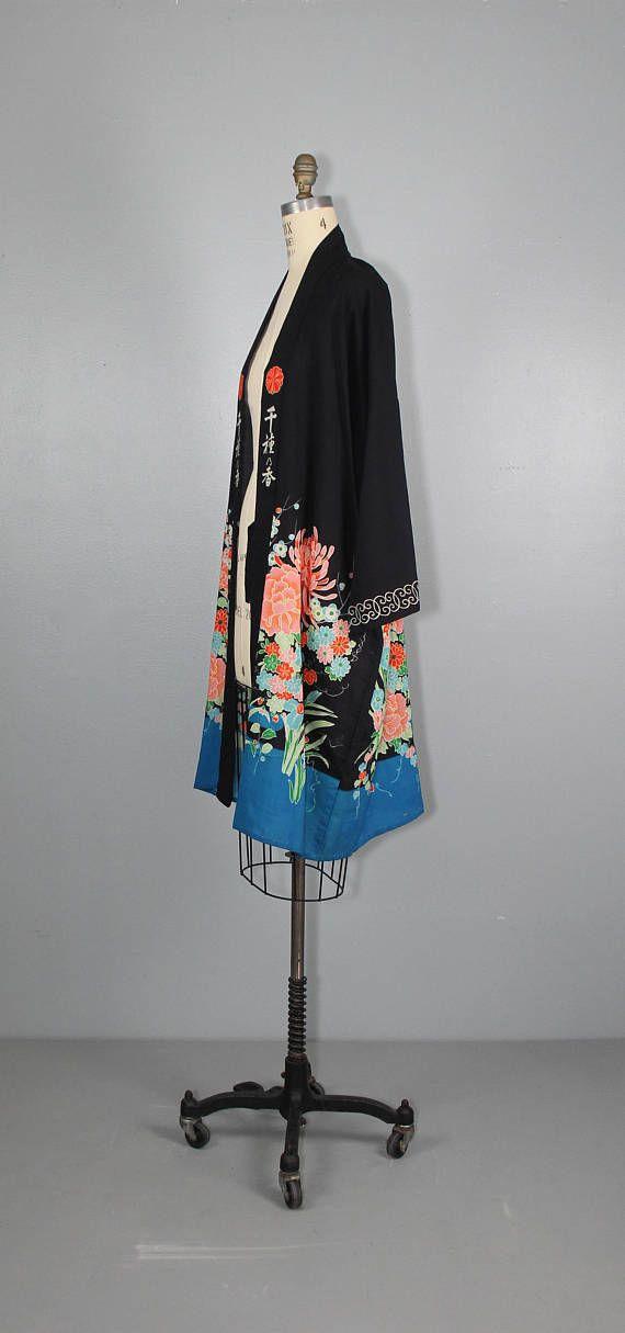 década de 1920 kimono vendimia traje / chaqueta floral