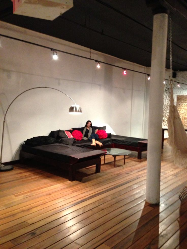 Bed couches in black shearling