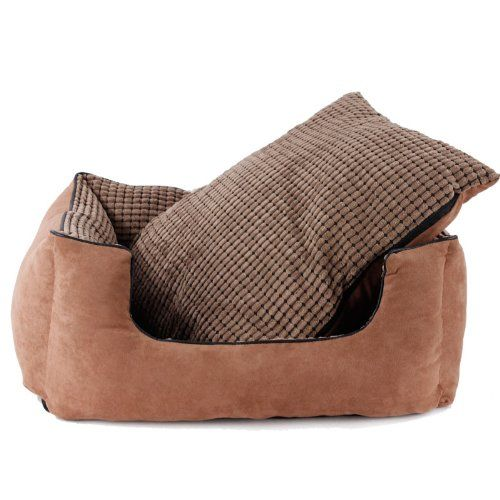 Colorfulhouse Corn Kernels Suede Sofa Pet Bed Warm Dog Bed with Removable Washable Cover + Free Pillow (Brown, Large)