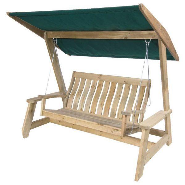Alexander Rose Pine Farmers Garden Swing Seat Hammock with Canopy £539.99