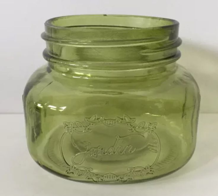 jardin green glass jar vintage tinted small decorative