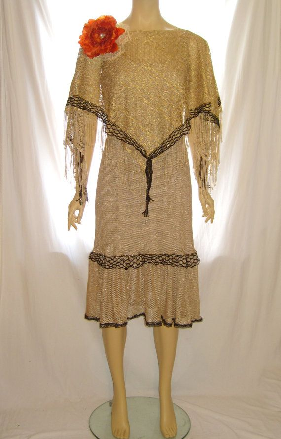 Gold color poncho The Great Gatsby accessory, 1920s flapper dress accessories, great gatsby shawl poncho, flapper dress shawl poncho scarf by 777DressCode, $39.99