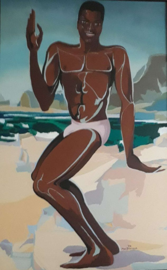 Patrick dancing at beach (1973) by Douglas MacDiarmid, oil on canvas. #Guadeloupe #Paris #NZpainter #artist #expat #expatpainter #expatartist #ssm  #portrait #gay #gayart #beautifulmen #gayartbeautifulmen #lgbt #gayartist #gaylove