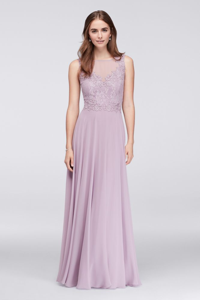 Trendy  of this long chiffon bridesmaid dress creating a softly romantic look By Violets and Roses Polyester Back zipper fully lined Dry clean Imported