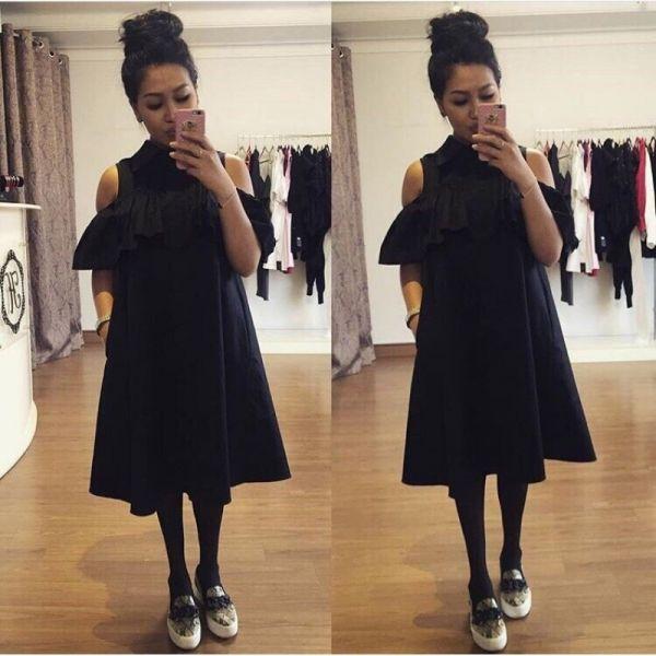 Платье-рубашка с оборкой 225 черный