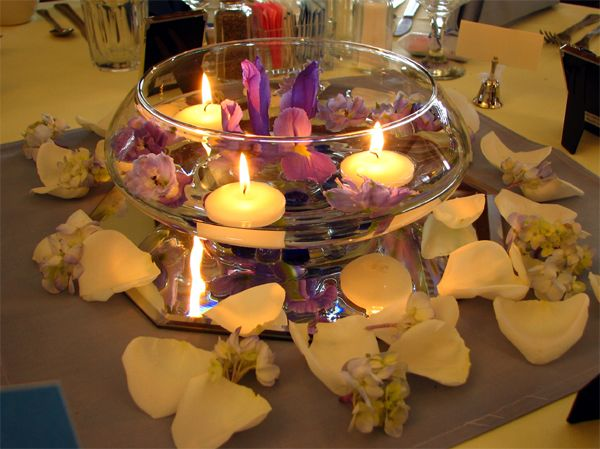 floating flowers and candles centerpieces - Google Search