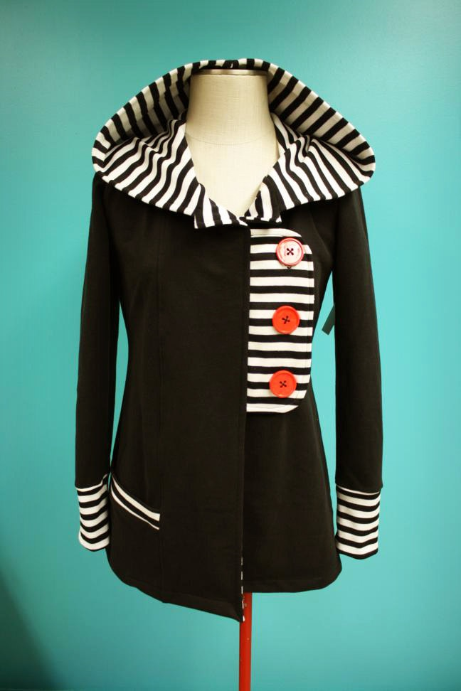 Black White Striped Red Button Tab Jacket Hoodie - Size Large #sweater #refashion