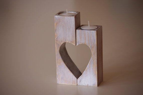 Wooden Candle holder, vintage Heart candle holder, grandmother gift, shabby…