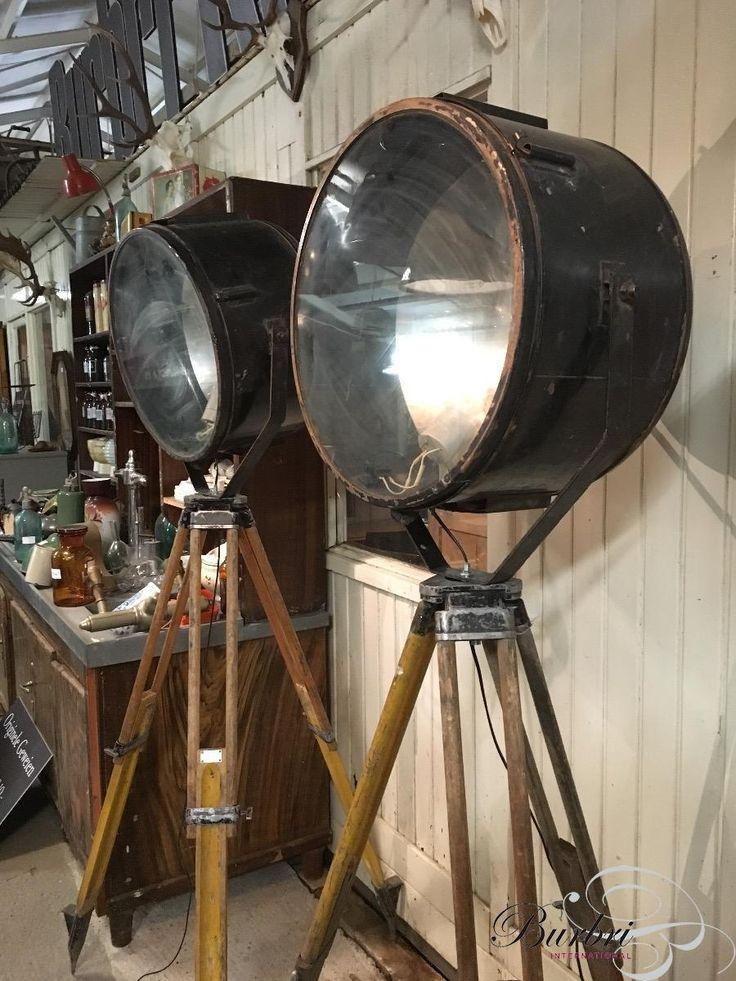 Industrieel Statief lampen stijl in Ijzer, glas en hout, Vintage, in Origineel staat, te koop in Industriële Verlichting   Burbri