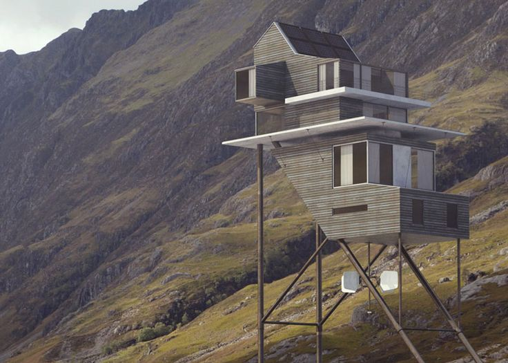 Fantasy house by Benoit Challand perched on stilts in the Scottish highlands