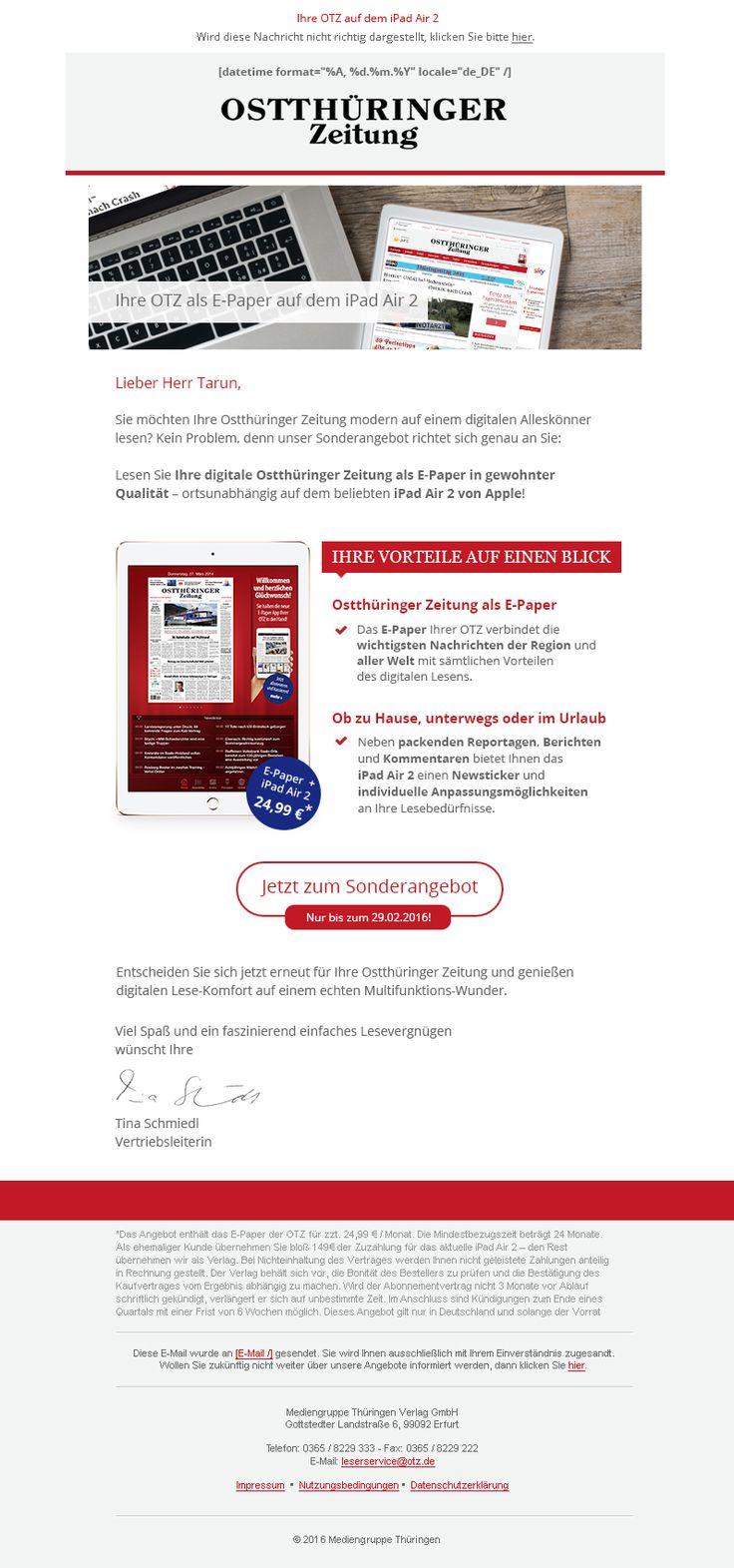 Unsere #mailingwork Grafiker entwarfen für die Mediengruppe Thüringen, speziell für die Ostthüringer Zeitung ein neues #Newsletter-#Design. #Newsletterdesign #Email #Emailmarketing