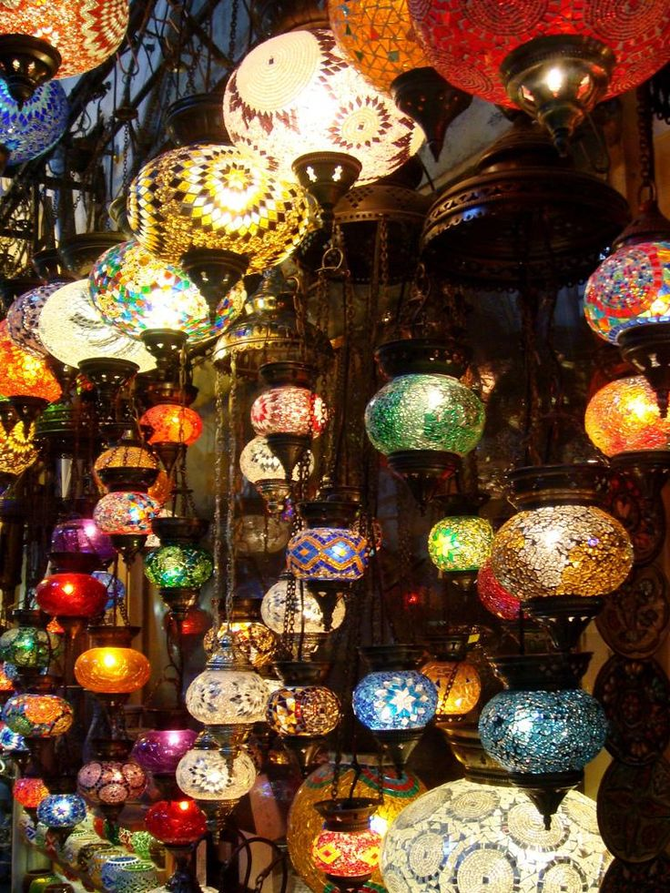 Lampshades in Istanbul's Grand Bazaar... LOOK AT THE BEAUTIFUL COLORS GOD HAS BLESSED US WITH... JUST THINK... THINGS COULD BE JUST BLACK & WHITE!!!