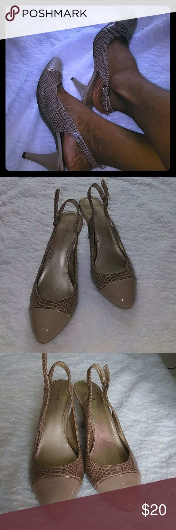Shoes Slingback shoes, size 11m, 3 inches heels, Man Made Upper, Man Made Lining, Balance Man Made. Good condition, little wear, few small scratches on the heel as shown in picture number 6 and some dents inside the shoes. Bundle and Save! Happy shopping 😊 Bandolino Shoes Heels