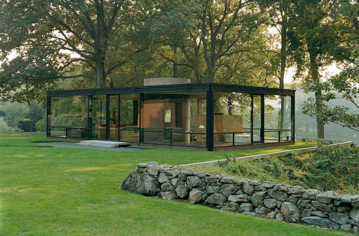 International Style glass house in New Canaan, Connecticut, USA. Designed by Philip Johnson, Pritzker Architecture Prize Laureate.