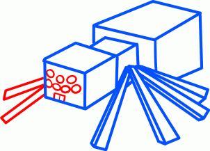 how to draw a minecraft spider, minecraft cave spider step 6