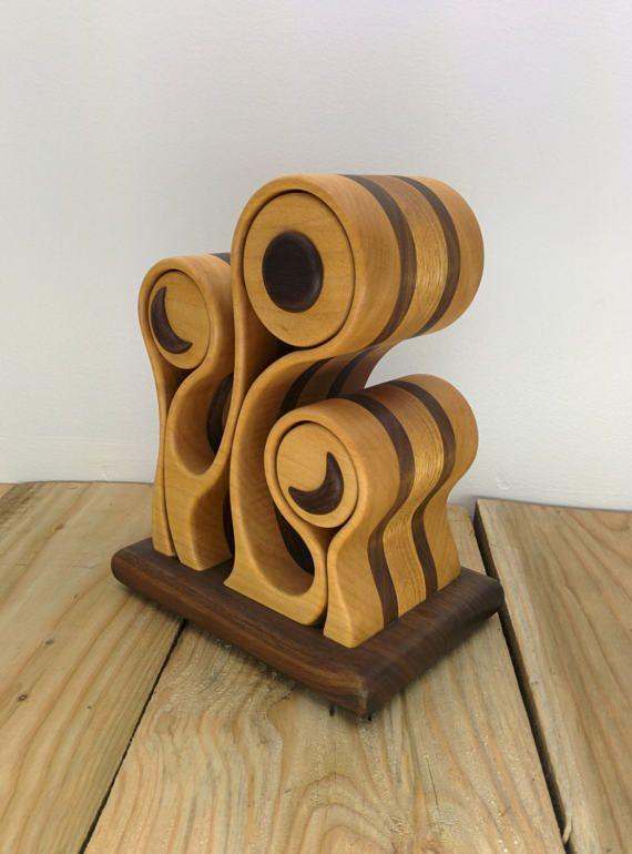 NEGRO MOON - arte madera - decoración para el hogar - caja de joyería del organizador - caja de Sierra de cinta - de escritorio - diseño original de Simon Roy