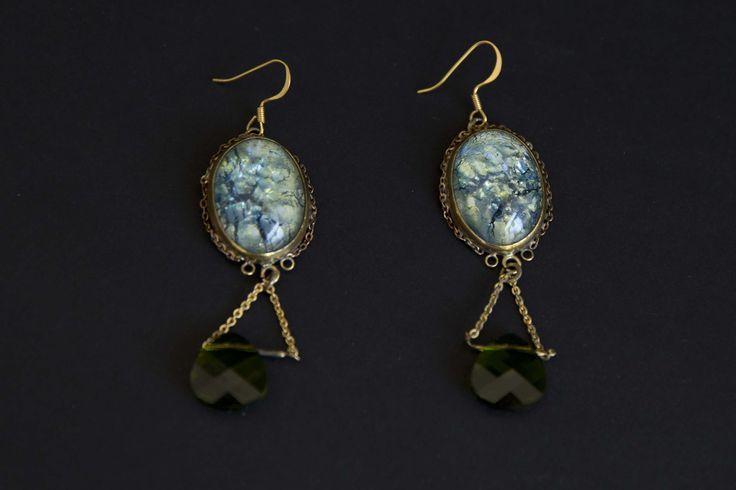 Brass bezel with glass stone earring.