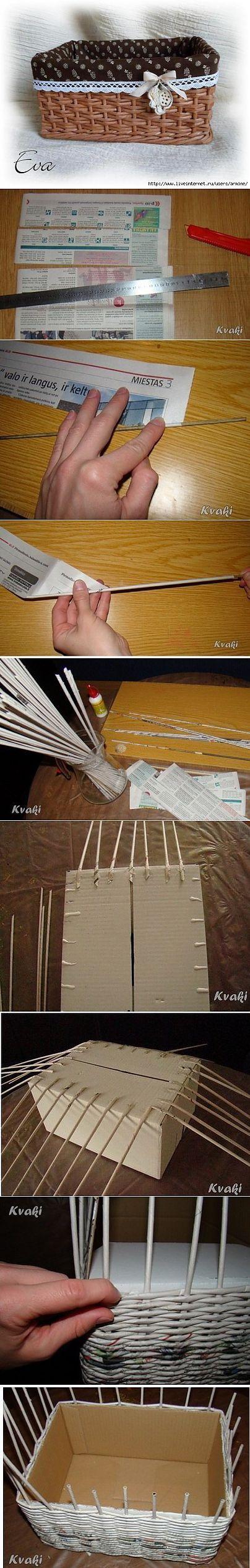 Плетение из газет. Как крутить трубочки и оплетать коробку