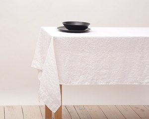 Organic Tablecloth 100% Stone Washed Linen Soft 9 color Natural linen Light Gray Ivory White Organic Natural Linen Fabric Luxurious Flax