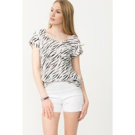 Zebra Print Blouse With Back Zip
