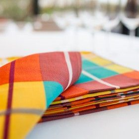 Lot de 4 serviettes de table, tissu motif MADRAS 43x43cm